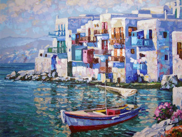 Mykonos, Greece Embellished 1992 Limited Edition Print - Howard Behrens