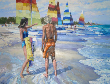 Untitled (Beach Scene) 1981 36x48 Original Painting - Howard Behrens