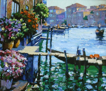 Arched Bridge, Gondoliers, Grand Canal, Afternoon Sun - Venice Suite of 4  Limited Edition Print - Howard Behrens