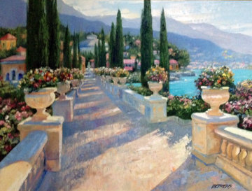 Lake Como Vista, Italy 2002 39x49 Original Painting - Howard Behrens
