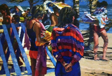 Two Girls At the Beach 1982 36x50 Original Painting - Howard Behrens