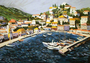 Greek Port with Remarque 1987 Limited Edition Print - Tony Bennett