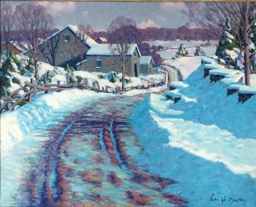 Winter Scene 1936 26x39 Original Painting - John W. Bentley