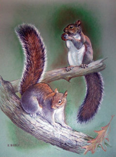 2 Squirrels 1960 18x13 Original Painting - Edward Bierly