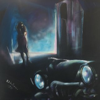 Girl Waiting For Her Lover in a '58 Buick 50x50 Original Painting - Billy Dee Williams