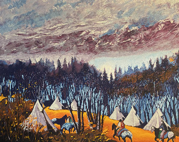 High Campground 39x29 Original Painting - Earl Biss