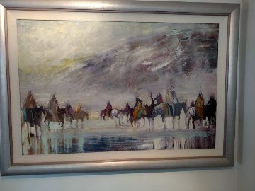 Riders on the Plain 1995 42x30 Original Painting - Earl Biss