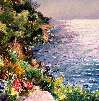 Cliff in the Mediterranean Sea 47x47 Original Painting - Pierre Bittar