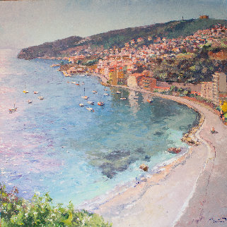 An Overlook of the City of Villefranche 55x55 Original Painting - Pierre Bittar