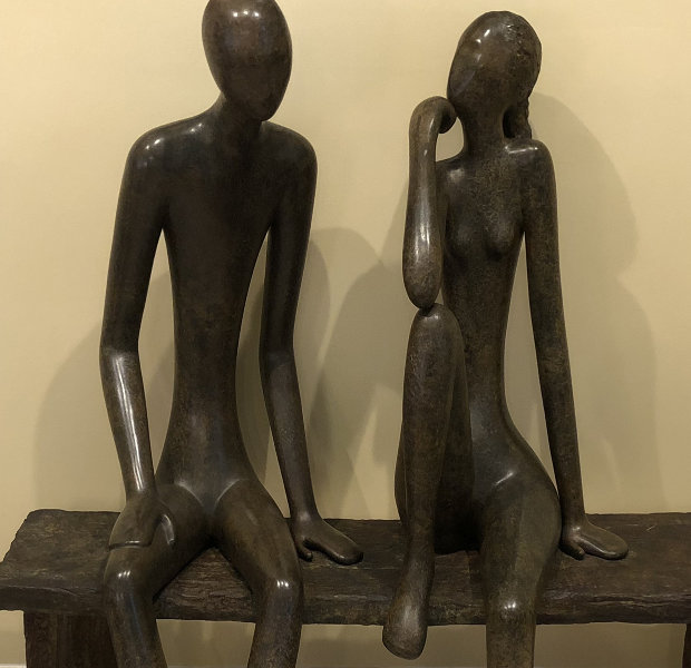 Couple on Bench  Bronze Sculpture  54 in
