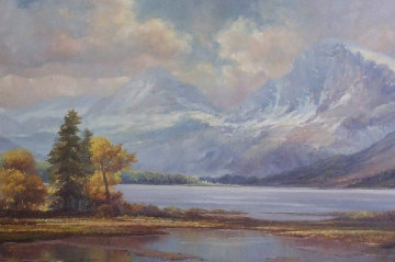 Lake of Thoune Switzlerland 24x48 Original Painting - Bela Bodo