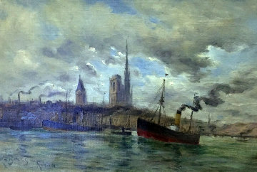 Harbor At Rouen 1900 15x22 Original Painting - Frank Myers Boggs