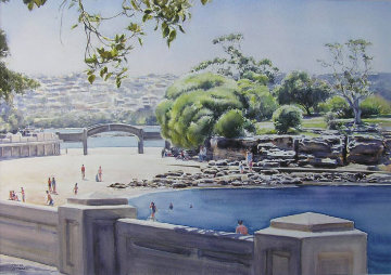 Summerlight Balmoral Beach, Sydney, Australia 2007 22x21 Watercolor - James Boissett