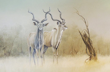Kudu 1987 22x36 Original Painting - Andrew Bone