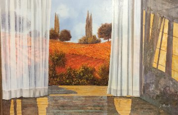 La Tende and I Papaveri 2015 30x42 Original Painting - Guido Borelli