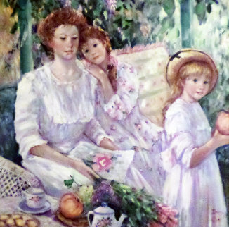 Mother With Two Daughters 1991 46x46 Original Painting - Irene Borg