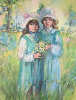 Untitled Little Girls 1980 42x32 Original Painting - Irene Borg