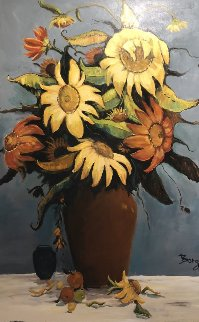 Sunflower 40x60 Original Painting - Irene Borg