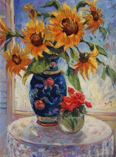 Sunflower in an Oriental Vase 30x40 Original Painting - Irene Borg