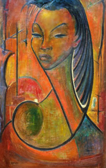 Untitled 1960 39x28 early by angel botello for Angel paintings for sale