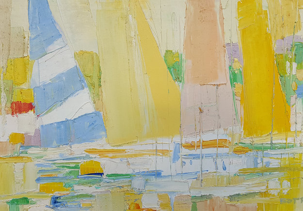 Sailboats At the Marina 1960 32x44