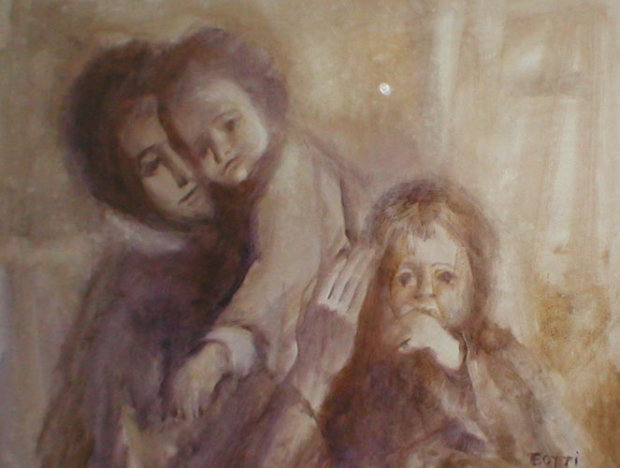 Mother With Two Children 32x44