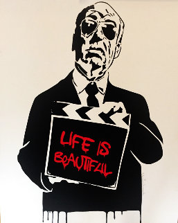 Alfred Hitchcock Life is Beautiful (Red) 2009 Limited Edition Print - Mr. Brainwash