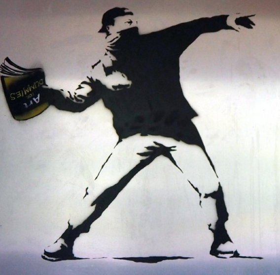 Banksy Thrower Unique on Metal 2012 36x36