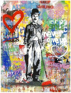 Chaplin 2017 47x37 Original Painting - Mr. Brainwash