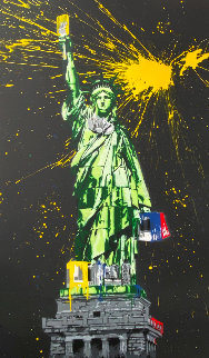 Statue of Liberty Black 2010 65x41 Original Painting - Mr. Brainwash