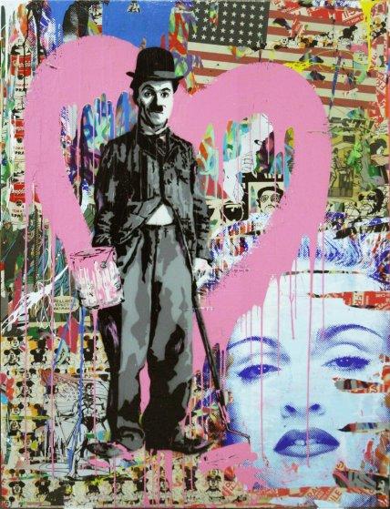 Chaplin 2012 64x48 by mr brainwash for Mural painted by street artist mr brainwash