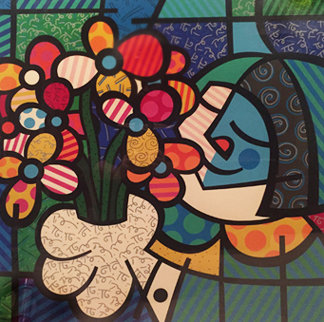 Flowers For You 1990 Limited Edition Print - Romero Britto