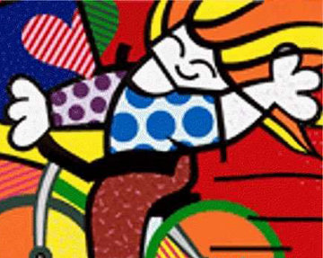 Girl on Bicycle 1992 Embellished Limited Edition Print - Romero Britto
