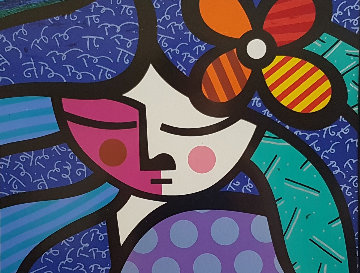 Girl With Flower 1998 Limited Edition Print - Romero Britto