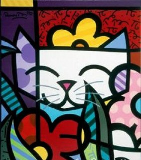 Cat Behind the Flowers 2004 Limited Edition Print - Romero Britto