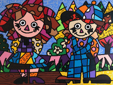 Ann And Andy 34x49 Original Painting - Romero Britto