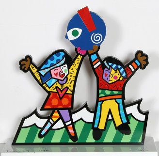 Circle of Love Iron Sculpture AP 2003 17 in Sculpture - Romero Britto