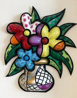 Flowers in Vase Wood Sculpture 2001 28 in Sculpture - Romero Britto