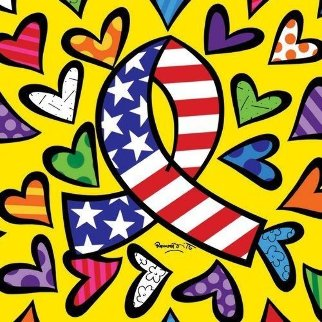 What More Can I Give 2003 Signed by Michael Javkson and artist Limited Edition Print - Romero Britto