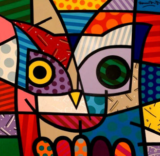 Owl 1999 48x48 Original Painting - Romero Britto