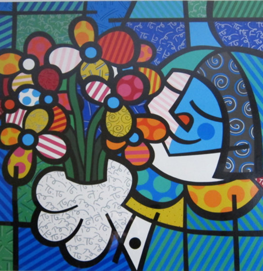 Flowers for you ap 1994 by romero britto for Best way to sell your art online