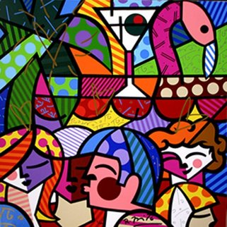News Cafe, South Beach,  Miami 2009 Limited Edition Print - Romero Britto