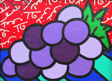Untitled (Grapes) 2004 14x12 Original Painting - Romero Britto