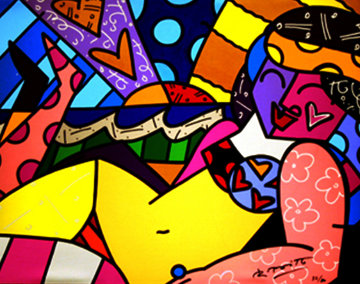 Untitled (Beach) Limited Edition Print - Romero Britto
