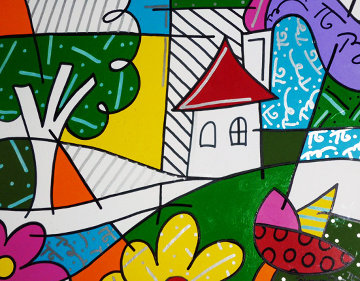 House With Tree on Left 1997 34x41 Original Painting - Romero Britto
