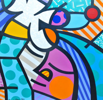 Someone to Love 1995 36x36 Original Painting - Romero Britto