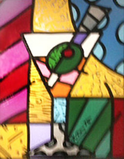 Martini Glass With Olive 23x20 Original Painting - Romero Britto