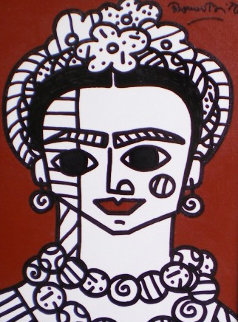 Brown Frida 2002 22x19 Frida Kahlo Original Painting - Romero Britto