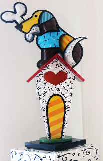 Dog With Bone Wood Life Size Sculpture With Unique Hand Painted Base 2004 66x28 Sculpture - Romero Britto