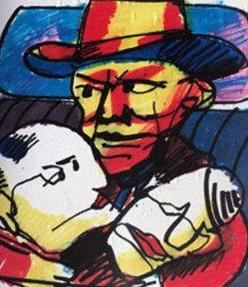 Tribute to Hank Williams 1999 17x15 Original Painting - Herman Brood